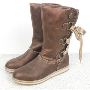 NEW! White Mountain Tall Boot Back Lace Up Tie 9.5